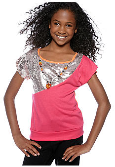 One Step Up Sequin Color Block Necklace Top Girls 7-16