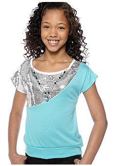 One Step Up Color-Blocked Sequin Top Girls 7-16