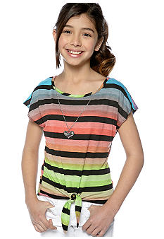 One Step Up Stripe Tie Front Top Girls 7-16
