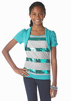One Step Up 2-Fer Sequin Cozy Top Girls 7-16