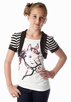 One Step Up 2-Fer Horse Sequin Shrug Top Girls 7-16
