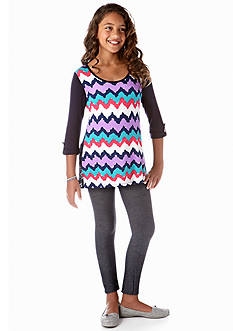One Step Up 2-Piece Wavy Chevron Tunic and Legging Set Girls 7-16