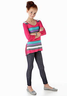 One Step Up 2-Piece Stripe Tunic and Legging Set Girls 7-16