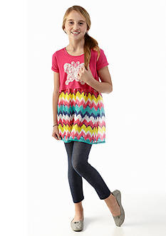 One Step Up 2-Piece Butterfly Chevron Popover Top and Legging Set Girls 7-16
