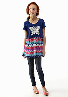 One Step Up 2-Piece Butterfly Popover Chevron Tunic and Legging Set Girls 7-16