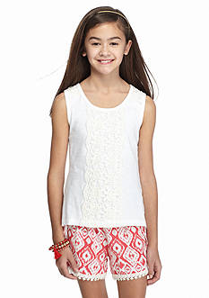 One Step Up 2-Piece Crochet Tank Top and Printed Short Set Girls 7-16