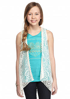 One Step Up 2-Piece Heart Tank Top and Crochet Cozy Girls 7-16