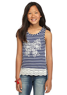 One Step Up Bow Stripe Crochet Tank Top Girls 7-16