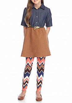 One Step Up 2-Piece Denim to Suede Tunic and Chevron Legging Set Girls 7-16