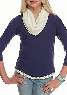 One Step Up Navy Solid Top Ivory Crochet Scarf Girls 7-16