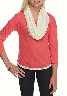 One Step Up Solid Coral Top Ivory Crochet Scarf Girls 7-16