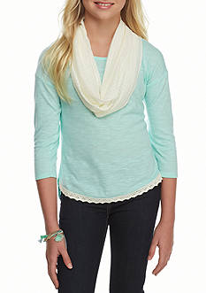 One Step Up Mint Solid Top Ivory Crochet Scarf Girls 7-16