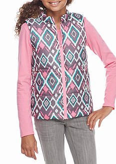One Step Up Diamond Print Puffer Vest with Solid Tee Shirt 2-Piece Set Girls 7-16