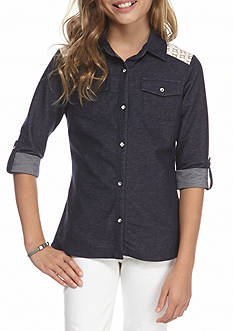 One Step Up Denim Lace Button Top Girls 7-16