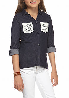 One Step Up Denim Top with Lace Accents Girls 7-16