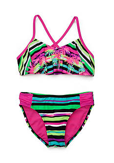 Breaking Waves 2-Piece Stripe Palm Flounce Bikini Girls 7-16