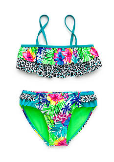 Breaking Waves 2-Piece Tropical Double Ruffle Bandeau Bikini Swim Set Girls 7-16