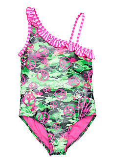 Breaking Waves Camo One Piece Girls 7-16