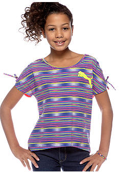 Puma Striped High Low Cat Tee Girls 7-16