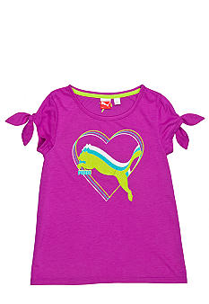 Puma Tie Shoulder Cat Tee Girls 4-6X