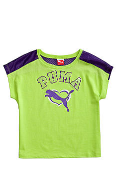 Puma Mesh Shoulder Crop Tee Girls 4-6X