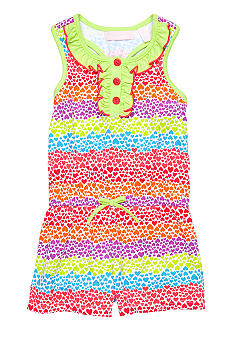Kids Headquarters Heart Stripe Romper Girls 4-6X