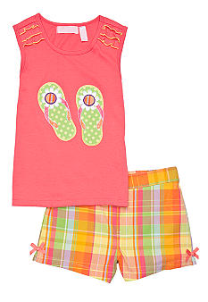 Kids Headquarters Flip Flop Plaid Short Set Girls 4-6X