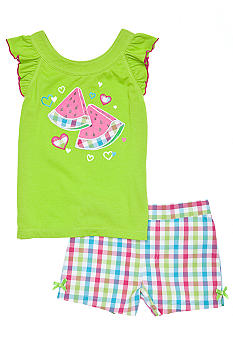 Kids Headquarters Watermelon Plaid Short Set Girls 4-6X