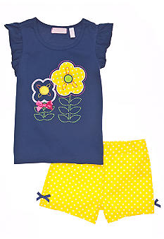 Kids Headquarters Dot Flower Short Set Girls 4-6X