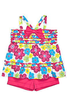 Kids Headquarters Floral Gauze 2-piece Short Set Girls 4-6X