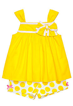 Kids Headquarters Yellow Voile and Dot 2-piece Short Set Girls 4-6X