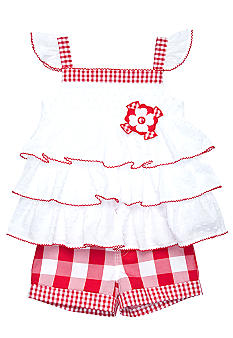 Kids Headquarters Swiss Dot Gingham 2-piece Short Set Girls 4-6X