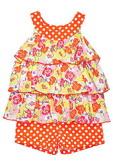Kids Headquarters Floral Dot Voile 2-piece Short Set Girls 4-6X