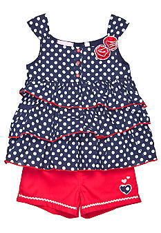 Kids Headquarters Polka Dot Tiered 2-piece Short Set Girls 4-6X