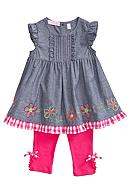 Kids Headquarters Chambray Flower 2-Piece Set Girls 4-6X