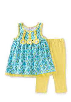 Kids Headquarters 2-Piece Flower Geo Print Tunic and Capris Set Girls 4-6x