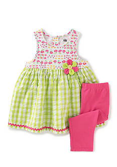 Kids Headquarters 2-Piece Flower Seersucker Tunic and Legging Set Girls 4-6x