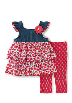 Kids Headquarters 2-Piece Poppy Chiffon Tunic and Dot Legging Set Girls 4-6x