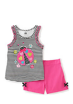 Kids Headquarters 2-Piece Ladybug Tank Top and Solid Shorts Set Girls 4-6x