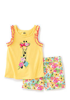 Kids Headquarters 2-Piece Giraffe Tank Top and Printed Shorts Set Girls 4-6x