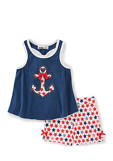Kids Headquarters 2-Piece Anchor Tank Top and Stars Shorts Set Girls 4-6x