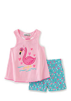 Kids Headquarters 2-Piece Flamingo Tank Top and Shorts Set Girls 4-6x