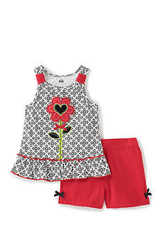 Kids Headquarters 2-Piece Flower Printed Tank Top and Shorts Set Girls 4-6x