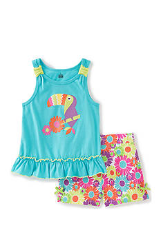 Kids Headquarters 2-Piece Toucan Print Tank Top and Floral Short Set Girls 4-6x