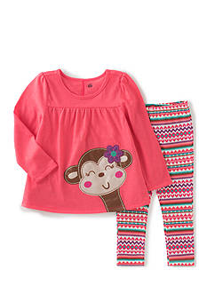 Kids Headquarters Coral Heather Monkey Set Girls 4-6X