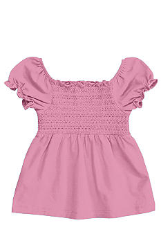 J Khaki Smocked Babydoll Top Girls 4-6X