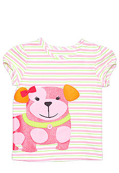 J Khaki Stripe Dog Tee Girls 4-6X
