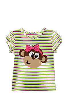 J Khaki Stripe Monkey Tee Girls 4-6X