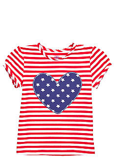 J Khaki Knit Stripe Heart Tee Girls 4-6X