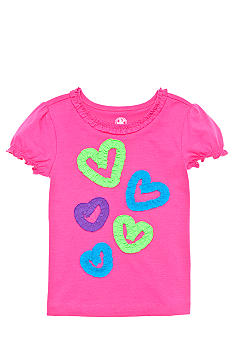 J Khaki Knit Ruffle Heart Tee Girls 4-6X